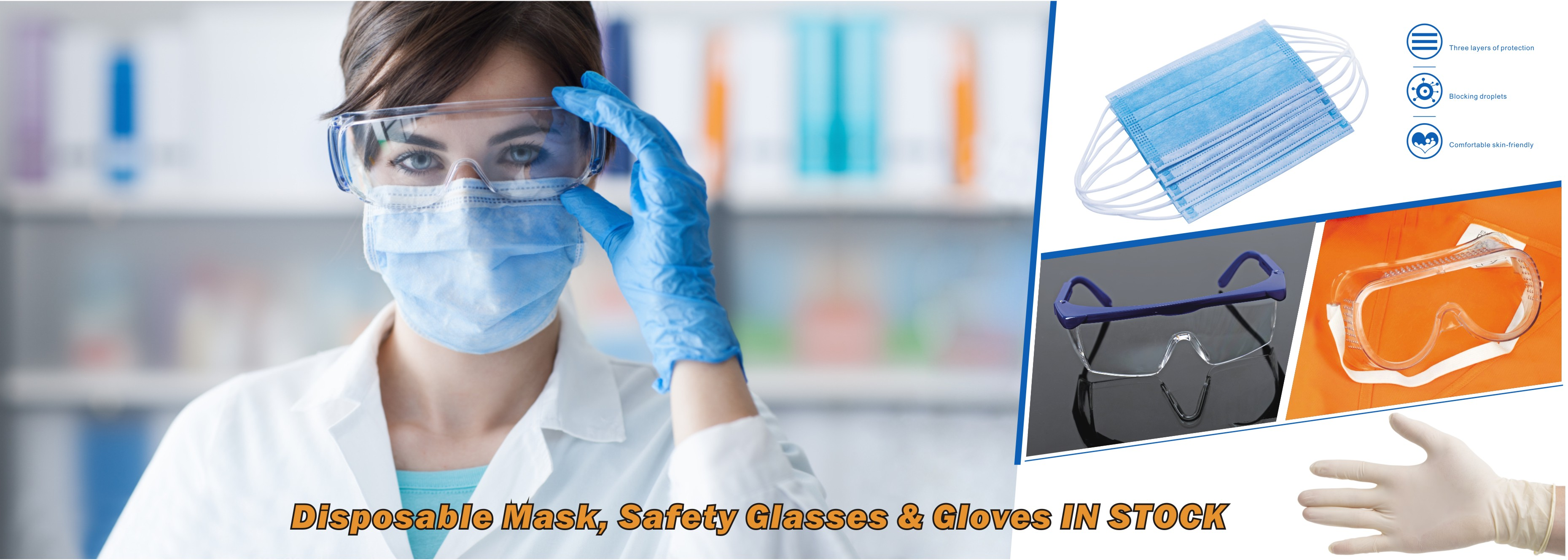 Disposable Mask, Safety Glasses & Gloves IN STOCK